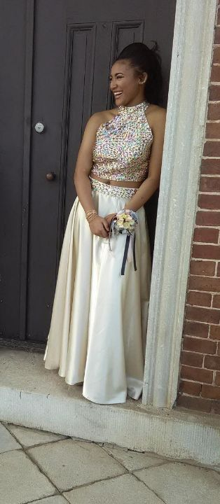 I can't even describe how happy i am with this product ! I wasnt even expecting it to arrive this soon, but it did!!!!! The dress os GORGEOUS & the measurements were perfect... READ MORE ABOUT Mollybridal High neck Two Pieces Split Prom Dresses A line Long >>>