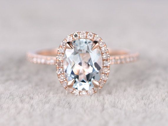 Natural Blue Aquamarine Ring Engagement ring Rose gold by popRing