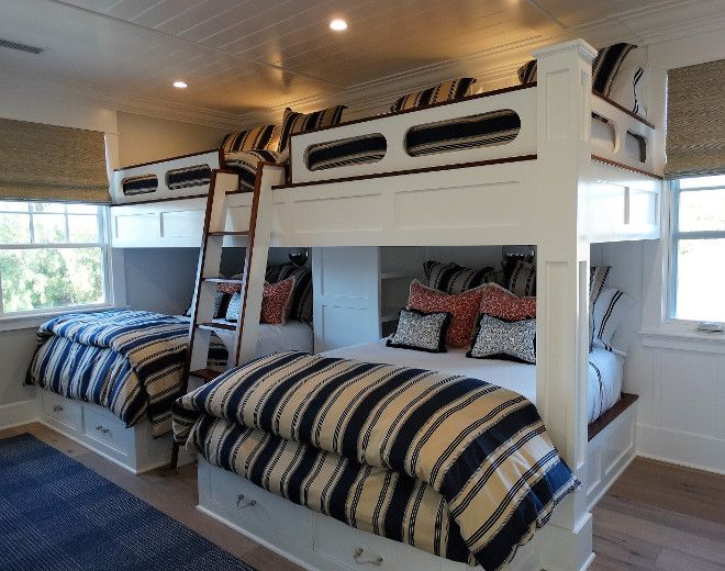 Coronado Island Beach House with Coastal Interiors. These custom bunk beds sleep six. Notice the 6-inch beadboard ceiling.