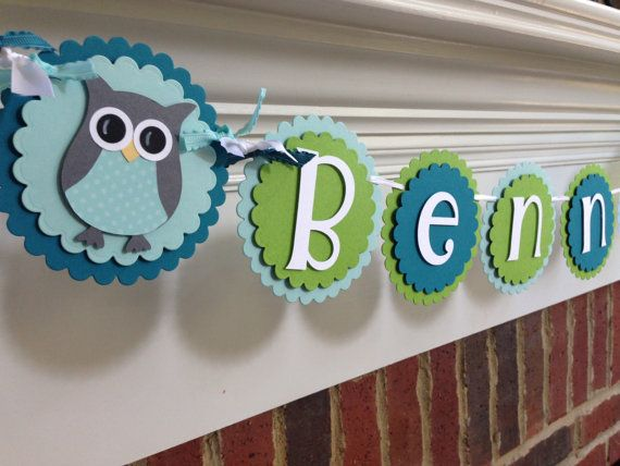 owl personalized name banner baby shower or birthday blue green