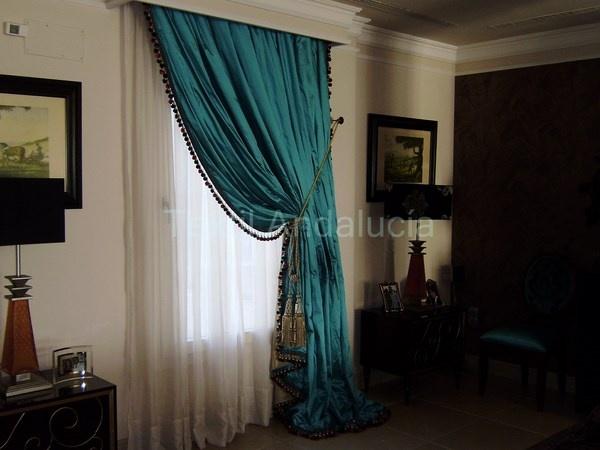 #cortinas de #seda forradas con #pasamaneria #interiorismo #decoracion