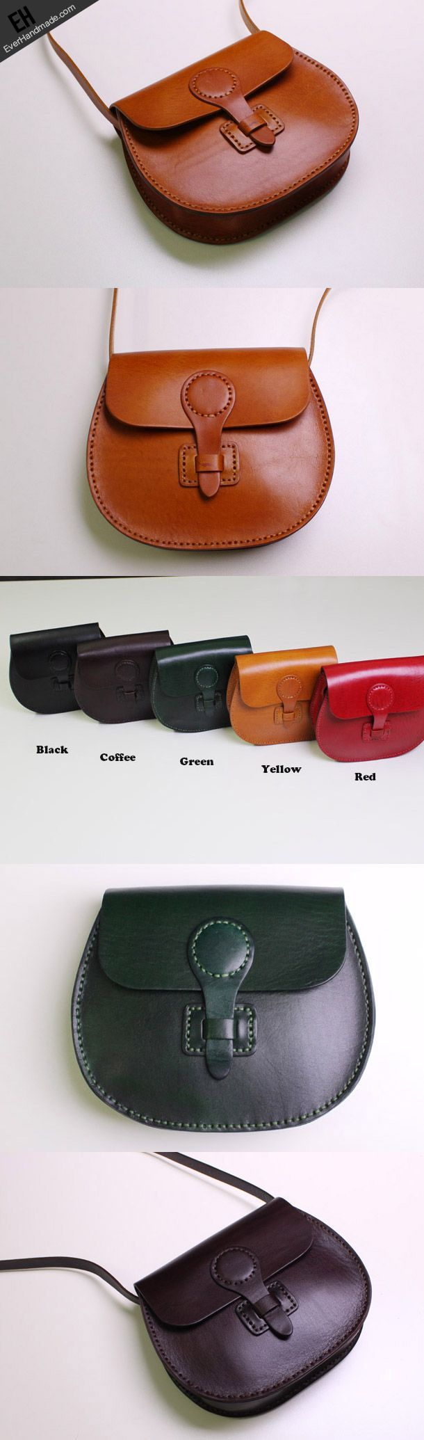 awesome Handmade Leather satchel bag shoulder bag black coffee yellow for wome
