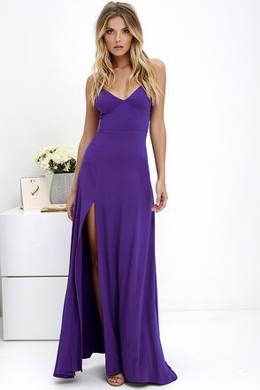 ridgetown Beauty Purple Maxi Dress comes along on your trip! Tantalizingly soft woven rayon shapes an (adjustable) strappy  bodice with a flattering set-in waist. A flaring maxi skirt boasts a high, sexy side slit. Hidden back zipper with clasp.