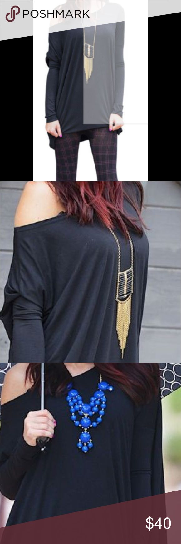 Off shoulder batwing shirt Stylish off shoulder batwing shirt.  Stock photo pictured.  Shirt is new without tags.  Pair with printed leggings or denim Tops Blouses