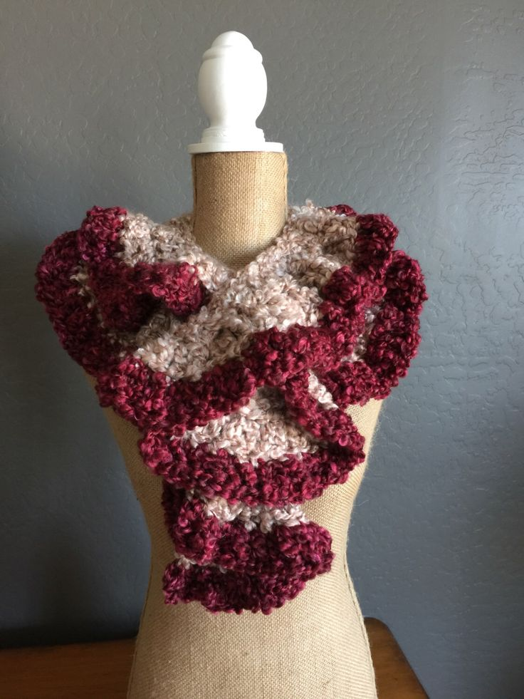 "PRETTY Crocheted Ruffle Potato Chip Scarf: Scarf in ""Coral Stripes"" and ""Garnet"" by MyOnDemandStyle on Etsy https://www.etsy.com/listing/269892570/pretty-crocheted-ruffle-potato-chip"