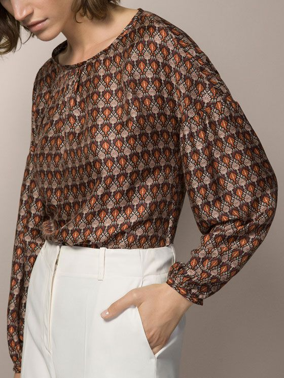 PRINTED SHIRT WITH PUFF SLEEVES