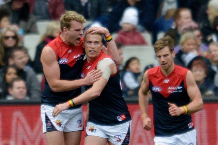 Melbourne celebrates a Bernie Vince goal