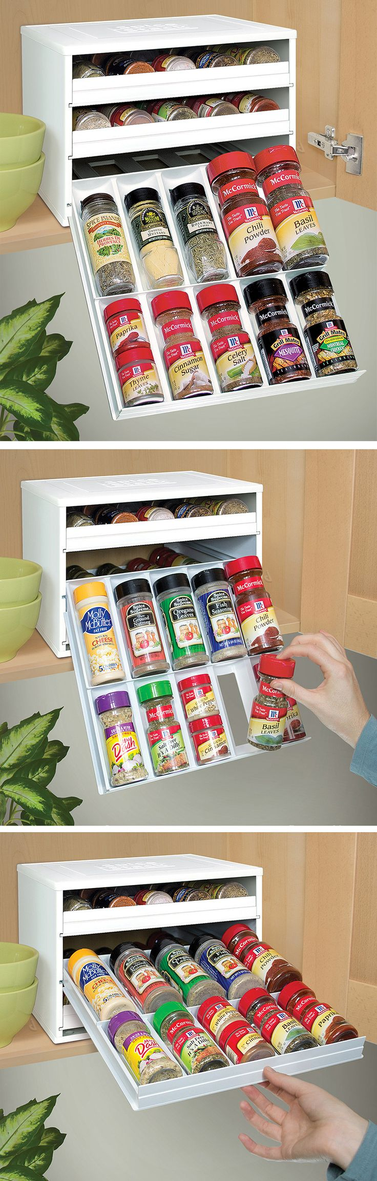 SpiceStack - Chef's Edition // a space-saving 30 bottle herb and spice organizer drawer rack. So clever, I need this in my kitchen! #product_design