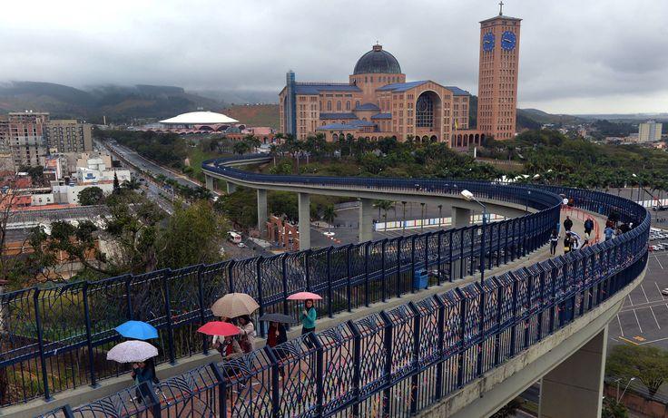 Vista da Basílica de Nossa Senhora Aparecida, que recebe o Papa Francisco para missa na quarta-feira (24), no interior de São Paulo