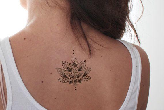 Tatuaje Lotus / falso femenino tatuaje temporal del por temptatco