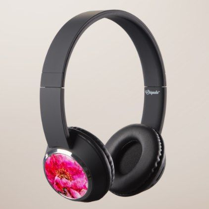 #peony watercolor pink headphones - #floral #gifts #flower #flowers