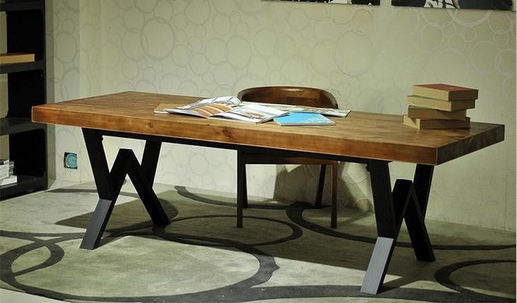 and contemporary wrought iron solid wood desk computer desk
