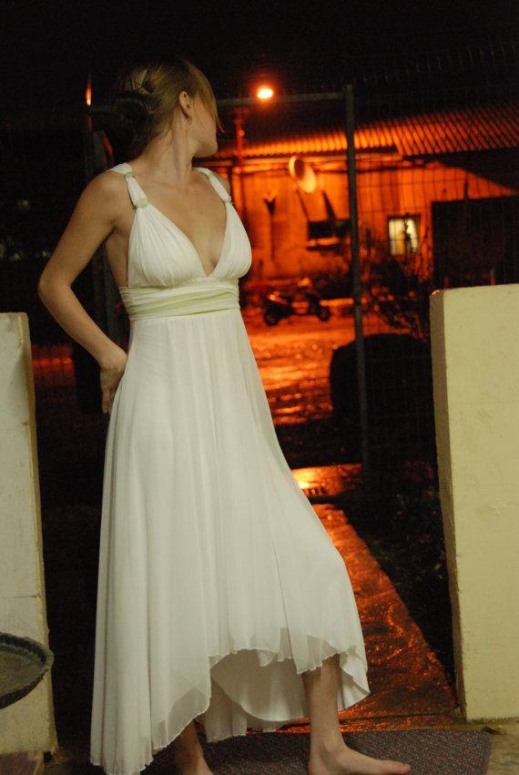 Melisa Custom Made Chiffon Wedding Dress Romantic Beach Wedding Asymmetrical V-neck Empire