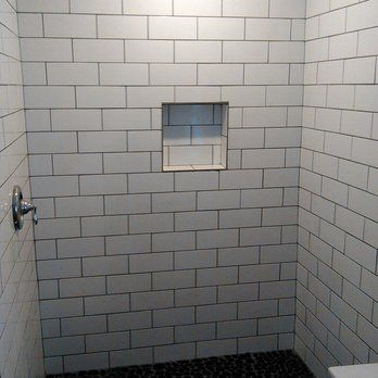 4x10 White Subway Tiles With Pewter Grout And Pebble Floor And Built In Shower Niche Yelp