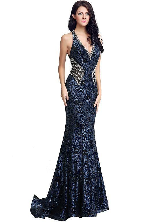 Glamorous Lace Halter Neckline Mermaid Evening Dresses With Beadings