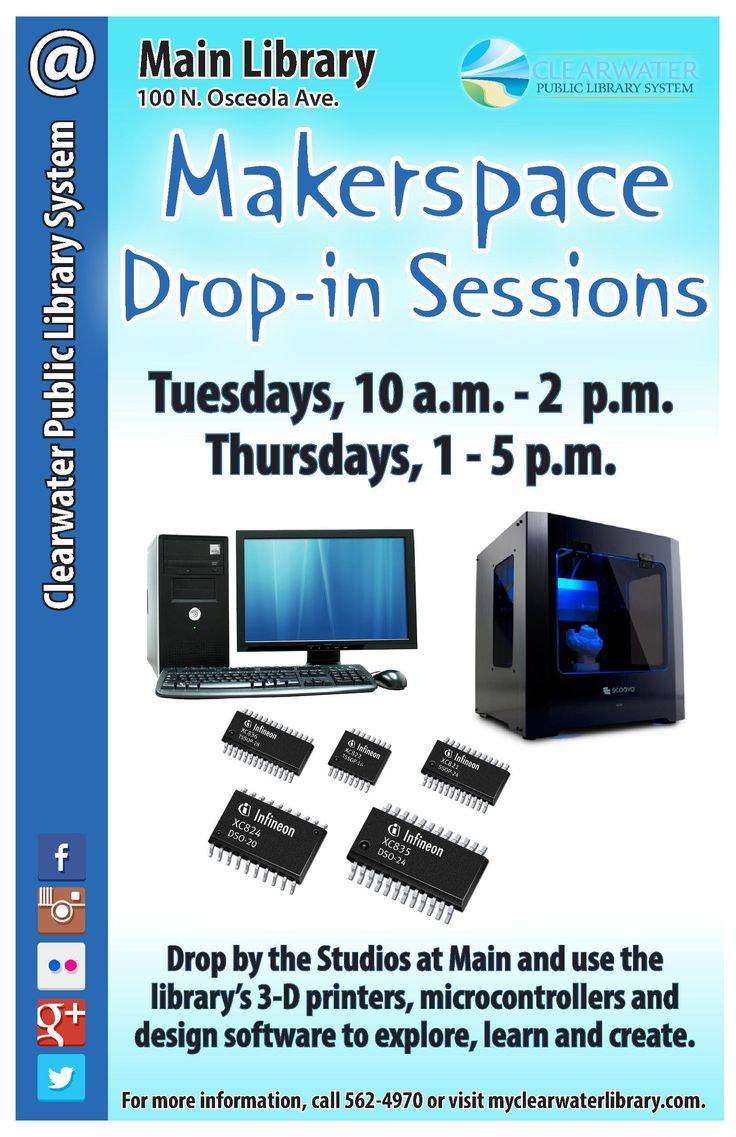 Drop by the Studios at Main and use the library's 3-D printers, microcontrollers and design software to explore, learn and create.