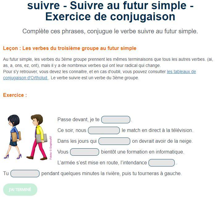 Exercice De Conjugaison Suivre Au Futur Simple Futur Simple Exercices Conjugaison Apprendre Le Francais Parler