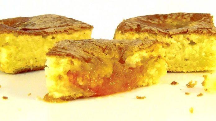 INGREDIENTE: 140 g de zahăr; 180 g de făină; 3 ouă; 250 g de smântână 30%; ¼ linguriță de sare; ¼ linguriță de bicarbonat de sodiu; o linguriță de praf de copt; ½ portocală; 8-10 caise; 2 linguri de zahăr— pentru presărat. MOD DE PREPARARE: Combinați ouăle la temperatura camerei cu zahărul. Bateți-le cu mixerul timp de 2-3 minute. Compoziția va deveni mai deschisă la culoare și foarte pufoasă. Adăugați smântâna grasă și densă și continuați mixarea încă 30 secunde. Puteți înlocui smântâna cu…