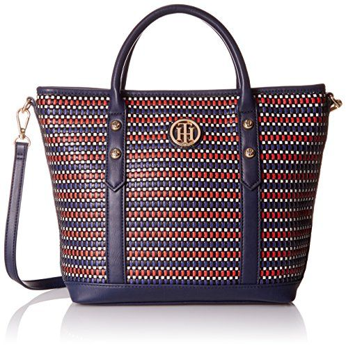 Tommy Hilfiger Hadley Woven Shopper Top Handle Bag, Navy/Red, One Size * FIND OUT ADDITIONAL INFO @: http://www.passion-4fashion.com/handbags/tommy-hilfiger-hadley-woven-shopper-top-handle-bag-navyred-one-size/
