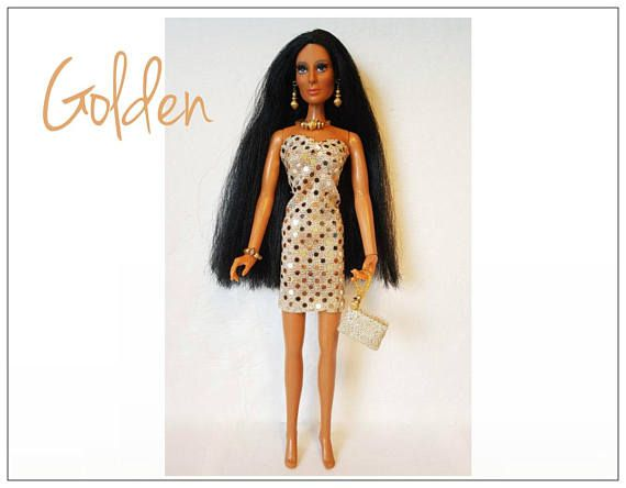 OOAK CHER Doll Clothes  GOLDEN Dress hand-beaded Purse and