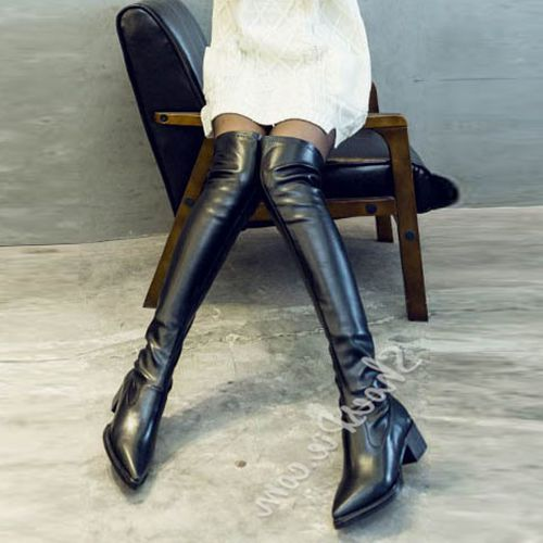 Beste Online Shoespie Zwarte Dikke Hak Knie Hoge Laarzen