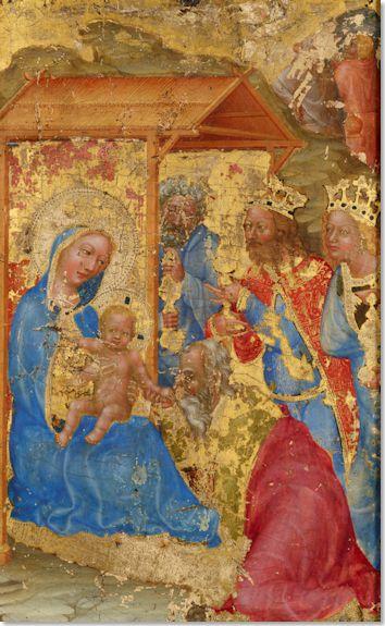 Morgan-Diptychon: In der Anbetung der Heiligen Drei König ist als mittlerer König Kaiser Karl IV. dargestellt. Möglicherweise waren die Tafeln ein Geschenk Karls IV. anlässlich seines Romzugs bzw. der Kaiserkrönung 1355. (Foto: New York, The Morgan Library & Museum)