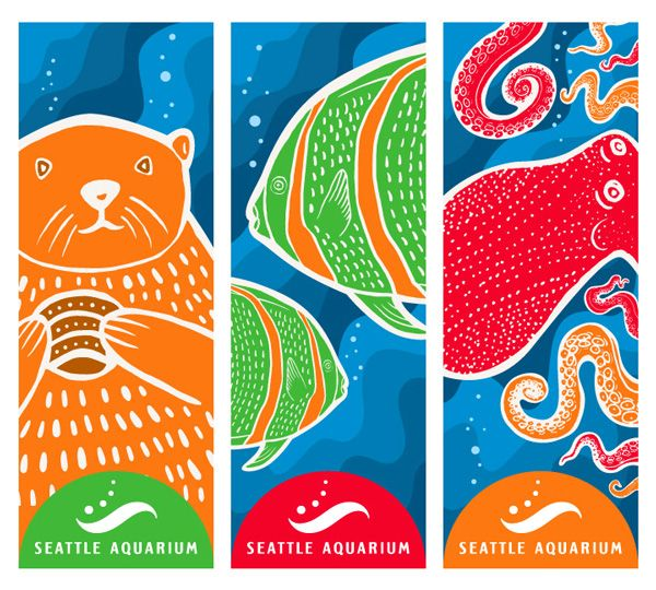 Seattle Aquarium Street Banners - Modern Dog Design Co.