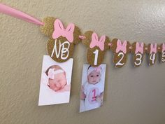 Minnie Mouse 12 month photo banner, Photo banner, Pink and Gold Minnie Mouse Party, Minnie Mouse Birthday, Minnie Mouse Banner,, listing by CuddleBuggParties on Etsy https://www.etsy.com/listing/257603479/minnie-mouse-12-month-photo-banner-photo
