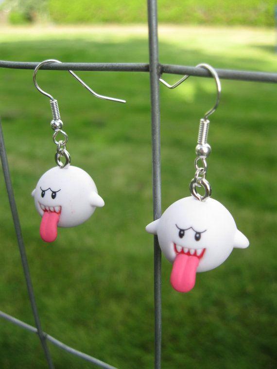 Super Mario boucles d'oreilles Boo par Jirges sur Etsy