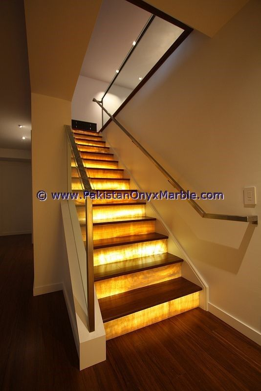 Backlit Onyx Stairs Steps Rises Backlighting Balustarde
