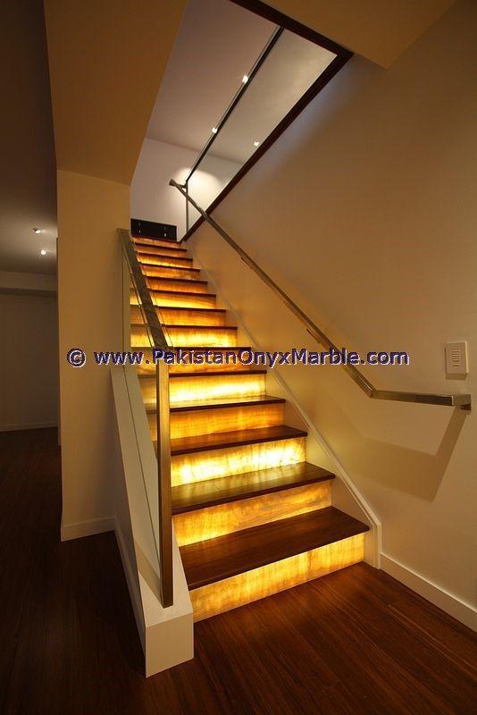 Backlit Onyx Stairs Steps Rises Backlighting Balustarde