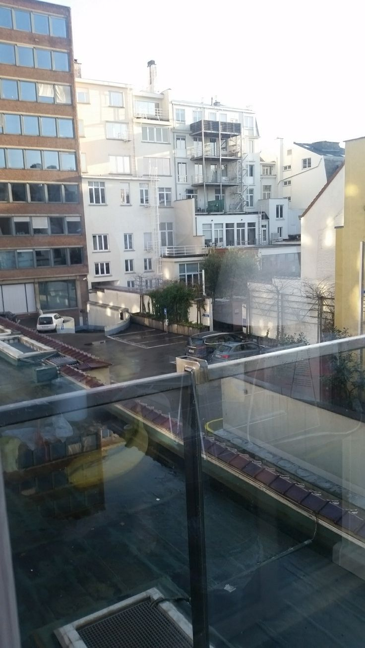 The view from our second-floor family room at Thon Hotel Stephanie in Brussels
