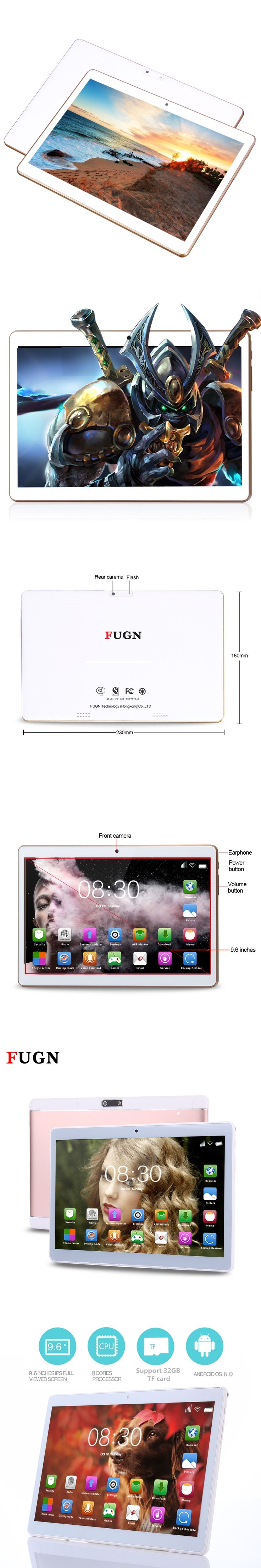 FUGN 9.7 inch Tablet PC for Kids Android 6.0 Drawing Tablet Octa Core 4GB RAM Wifi GPS Dual Cameras Phone Call Tablets 8 10'