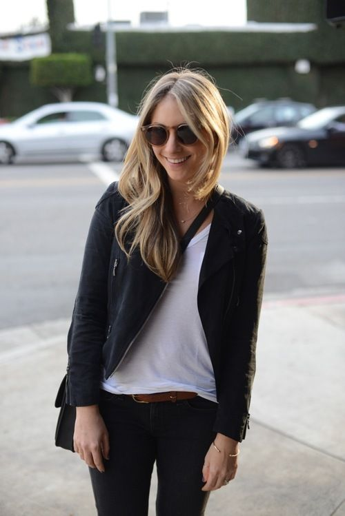 minoodesign:  Emily Schuman  wearing: Club Monaco Jacket, Illesteva Sunglasses, T by Alexander Wang Shirt, Rag & Bone Jeans, Madewell Be...