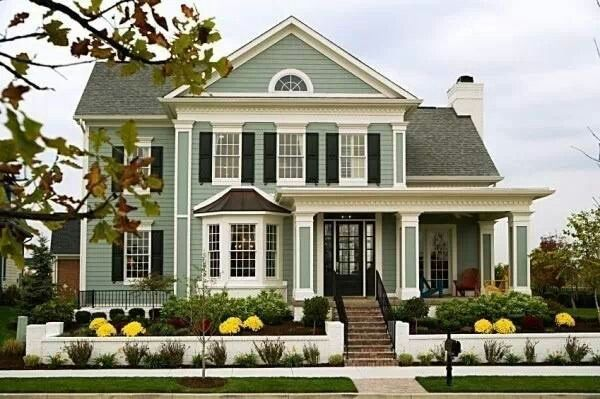 Love The Sage Green Color Siding Houses Pinterest Green Siding Green Colors And Cream