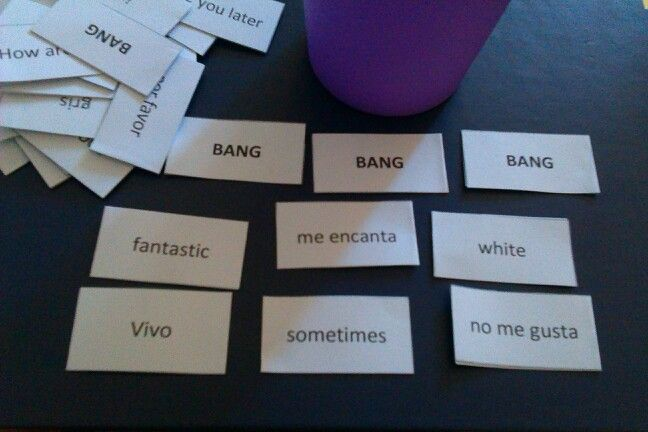 Spanish BANG game. Students pick out cards, translate and check answer on back. If they get a bang card they have to return all cards. Winner is one with most cards.