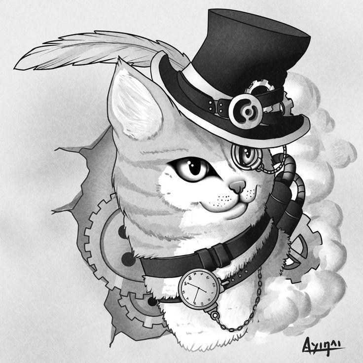 Steampunk cat by Ayinai