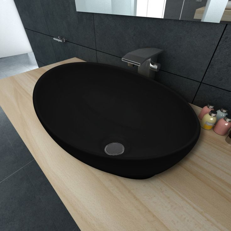 Oval Ceramic Bathroom Basin Sink In Black 400mm Buy Bathroom Sinks Vanities