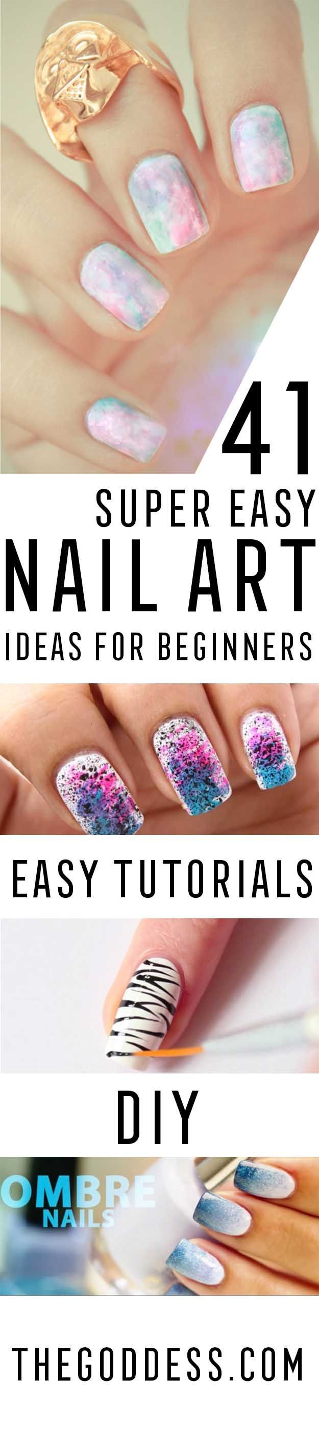 Super Easy Nail Art Ideas for Beginners - Simple Step By Step DIY Tutorials And Pictures For Nailart.  Ideas For Every Style, All Hair Colors, Sparkle, Valentines, And other Awesome Products To Make It DIY and Super Easy - http://thegoddess.com/nail-art-ideas-beginners