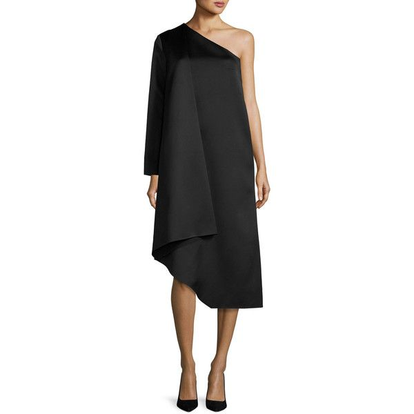 Solace London Idelle Asymmetric Satin Swing Dress ($620) ❤ liked on Polyvore featuring dresses, black, women's apparel dresses, asymmetrical dresses, long satin dress, asymmetrical hem dress, long sleeve cocktail dresses and trapeze dress