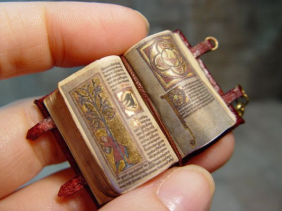 Miniature Medieval Open Illuminated book by evminiatures on Etsy