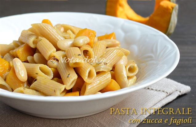 Pasta integrale con zucca e fagioli, ricetta facile