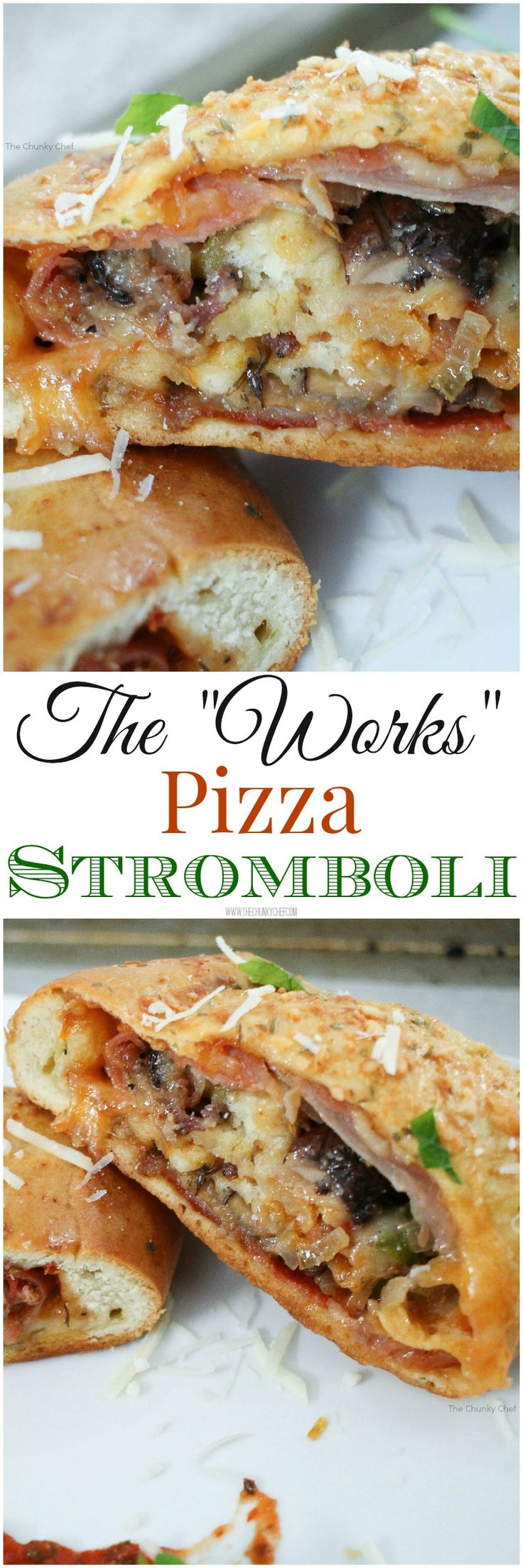 """The Works"" Pizza Stromboli - All the flavors of a works pizza, wrapped up in a delicious homemade crust, baked and seasoned to perfection!"