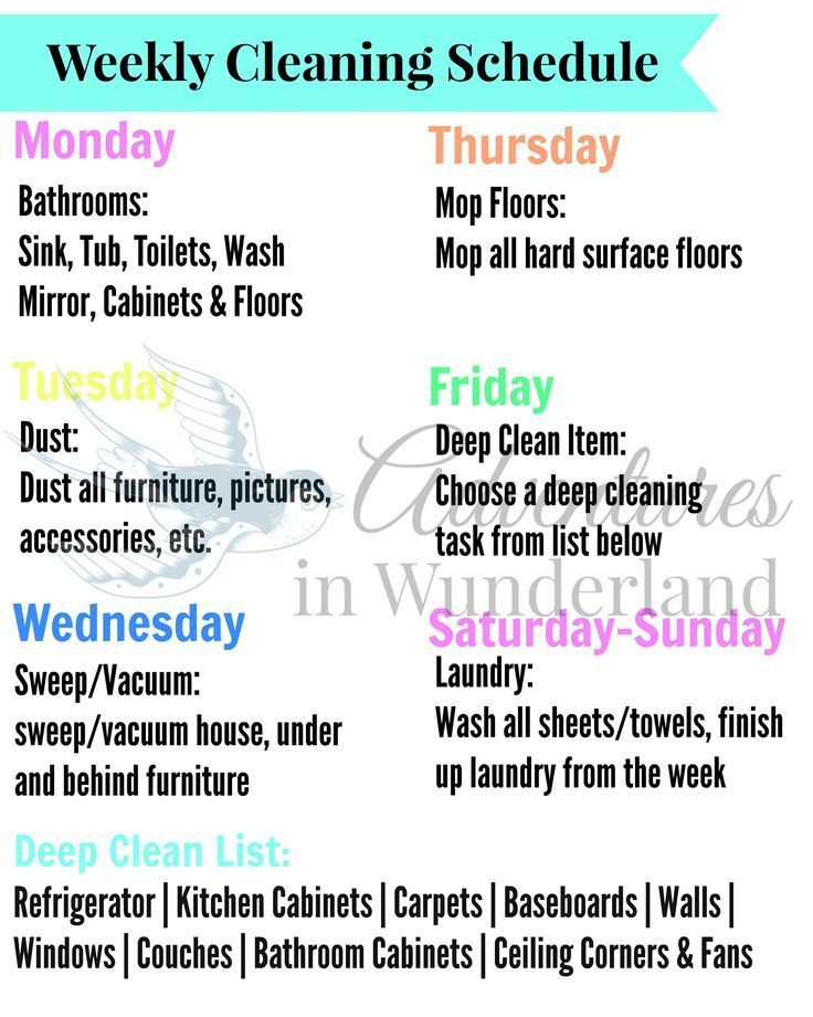 Weekly cleaning schedule - stay on top of the cleaning with this free printable weekly cleaning schedule