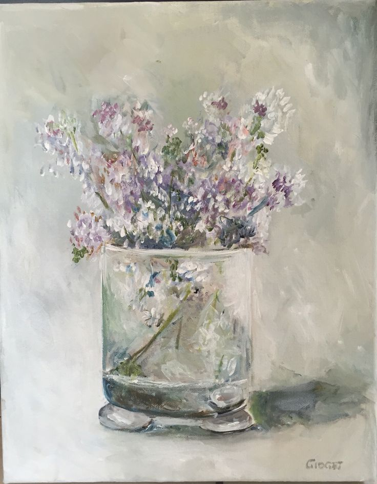 Wild blossoms in a glass, painted with acrylic on canvas
