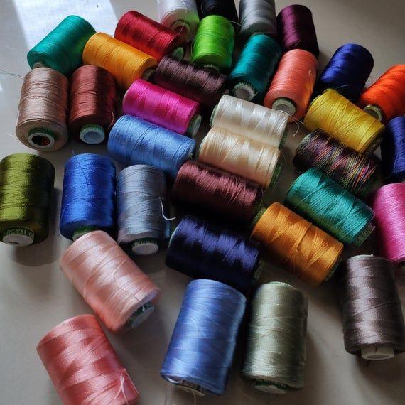 Silk Embroidery Thread Art Silk Thread Hand and Machine Embroidery Thread Set of 5 Silk Thread Spools Embroidery Thread