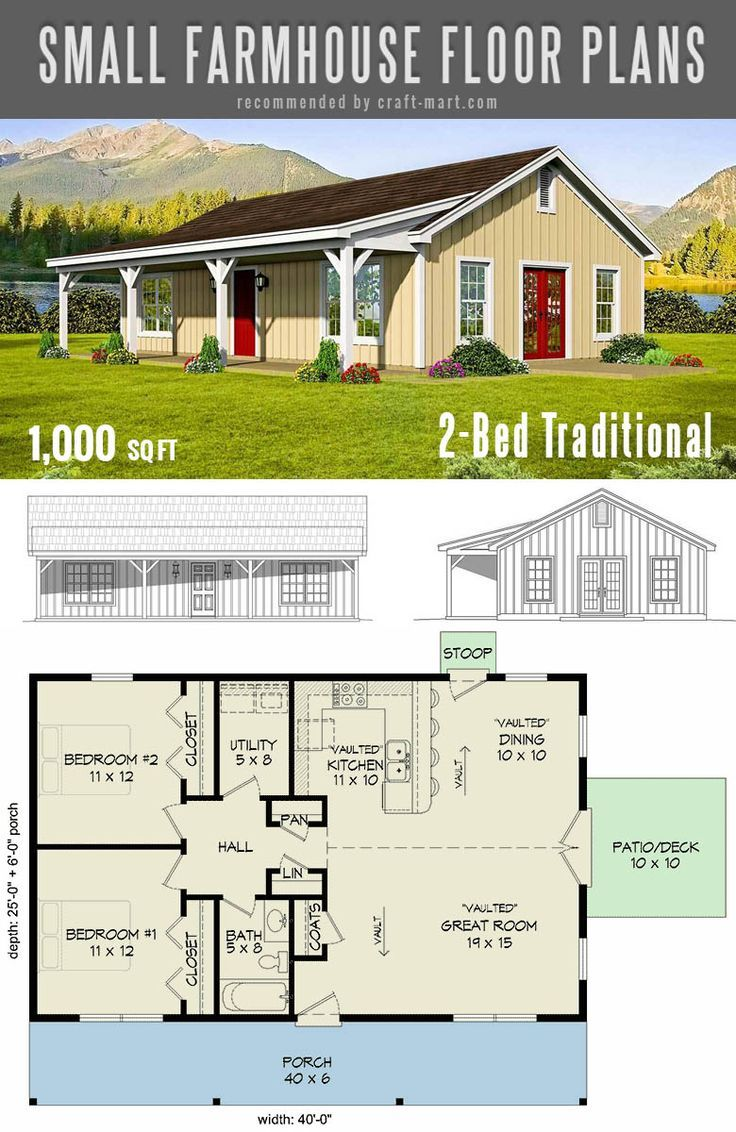 The Best Simple Farmhouse Plans Timeless 2 Bed Small Traditional Farmhouse Plan Small Farmhouse Plans Simple Farmhouse Plans House Plans Farmhouse