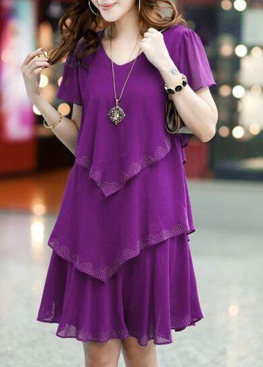 V Neck Purple Short Sleeve Tiered Dress on sale only US$27.79 now, buy cheap V Neck Purple Short Sleeve Tiered Dress at liligal.com