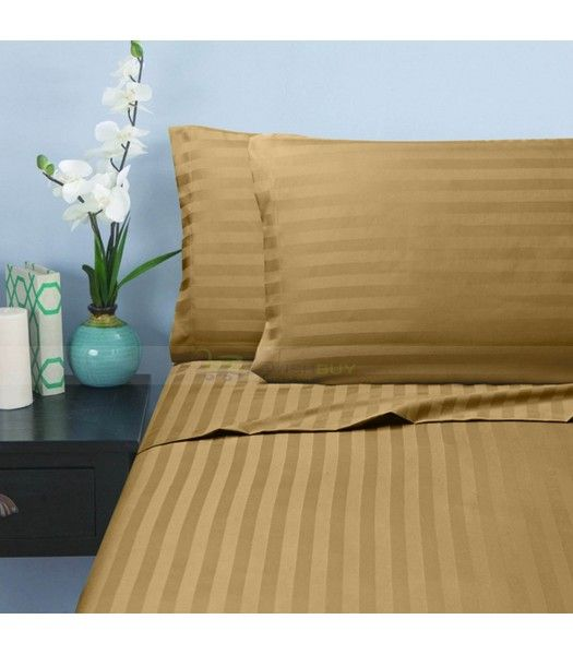 Merveilleux Taupe Stripe Egyptian Cotton Bedding Sheet Set 1000 Thread Count