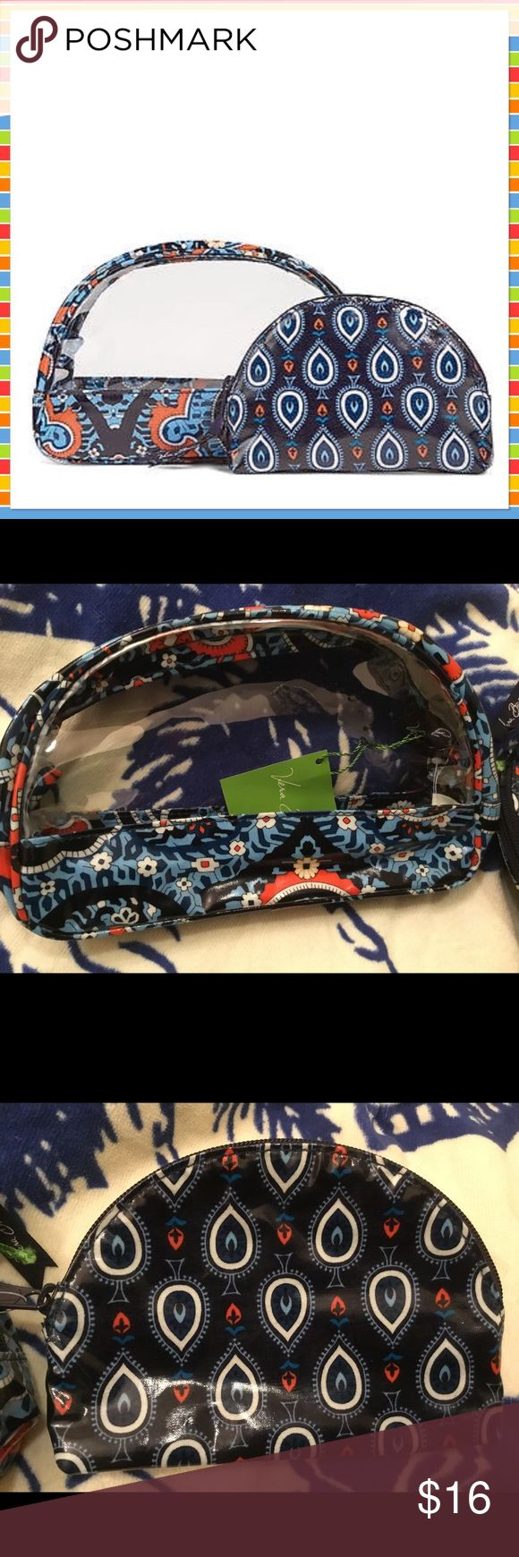 """Vera Bradley Clear Cosmetic Bag Duo Marrakesh NWT This is a brand new with tags Vera Bradley Clear Cosmetic Duo.  The pattern is Marrakesh.  Small Cosmetic: 6"""" x 4"""" x 1 ¼"""" Large Cosmetic: 8"""" x 5"""" x 2 ½"""".  Zip closure. Vera Bradley Bags Cosmetic Bags & Cases"""